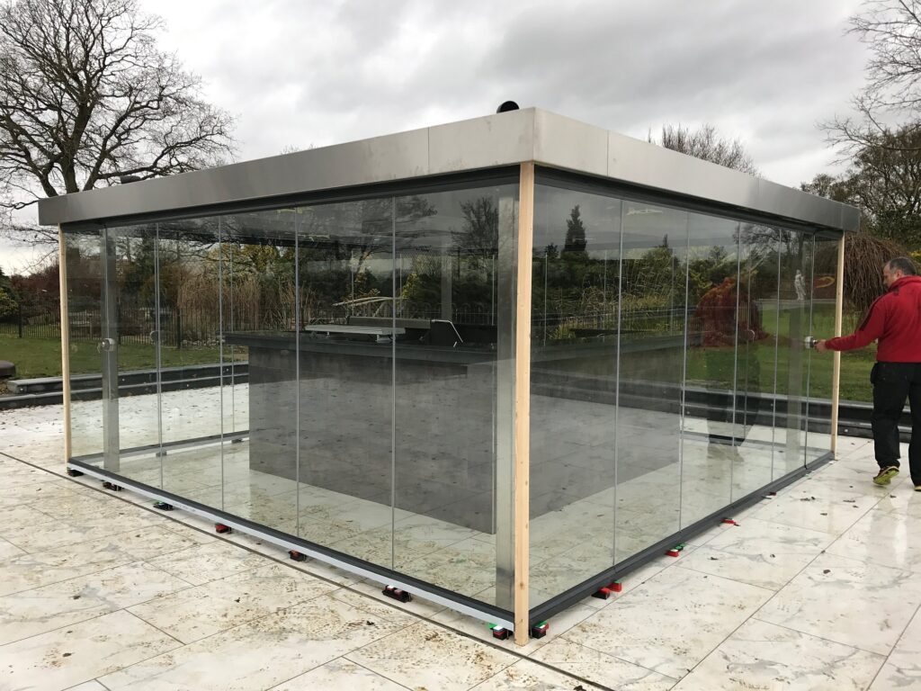 frameless glass gazebo