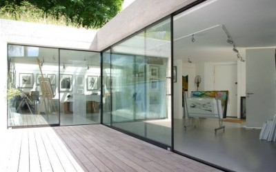 studio/gallery with sightline doors
