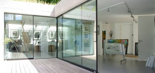 studio/gallery with large glass sliding doors