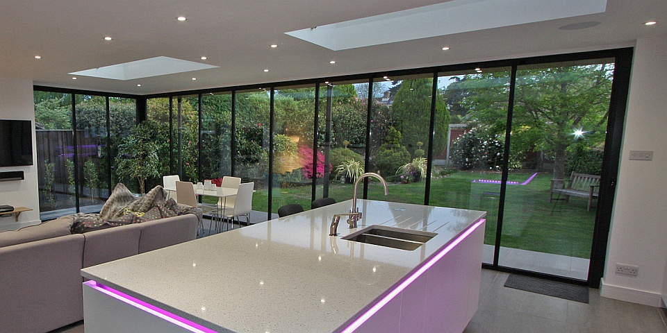 Frameless bi fold doors gallery all styles for Long sliding glass doors